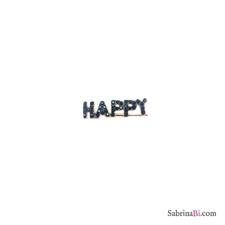 Mono orecchino rampicante argento 925 oro rosa Happy Zirconi neri