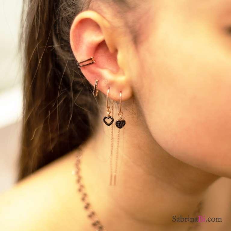 Rose gold sterling silver threader pull through black Zirconia empty heart mono earring
