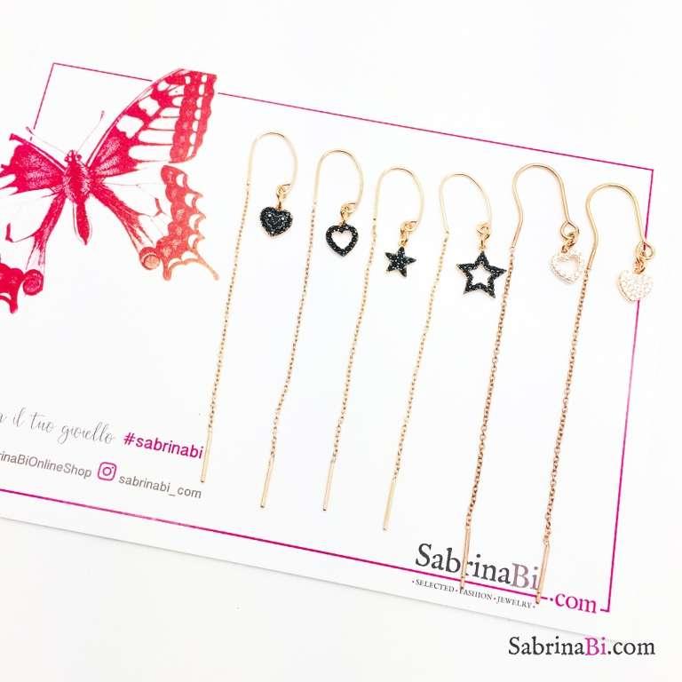 Rose gold sterling silver threader pull through Zirconia heart mono earring