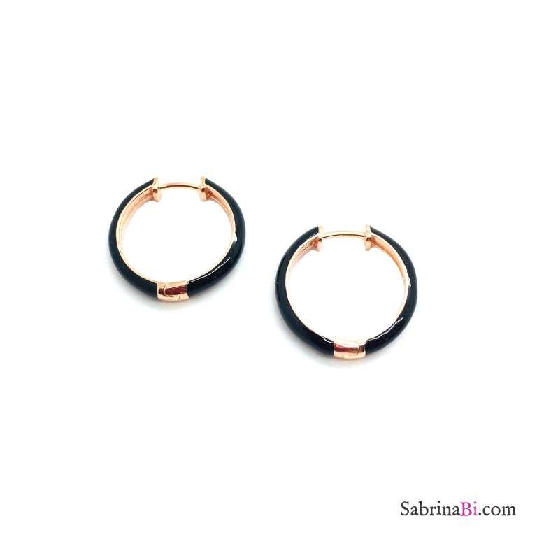 Orecchini a cerchio 1,5cm scatto argento 925 oro rosa smalto nero