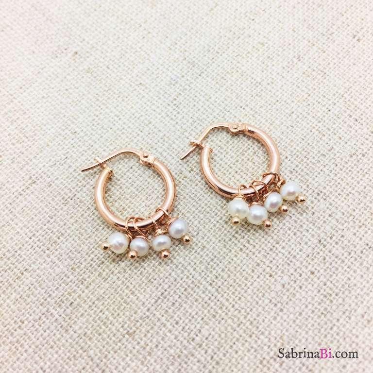 Orecchini a cerchio argento 925 oro rosa 4 Perle