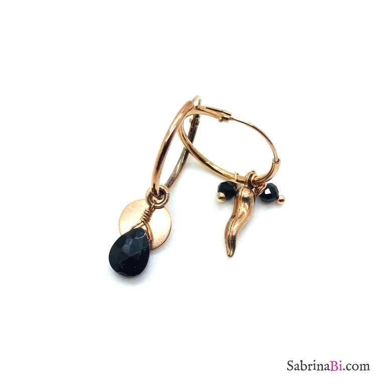 Orecchini a cerchio argento 925 oro rosa Black beauty