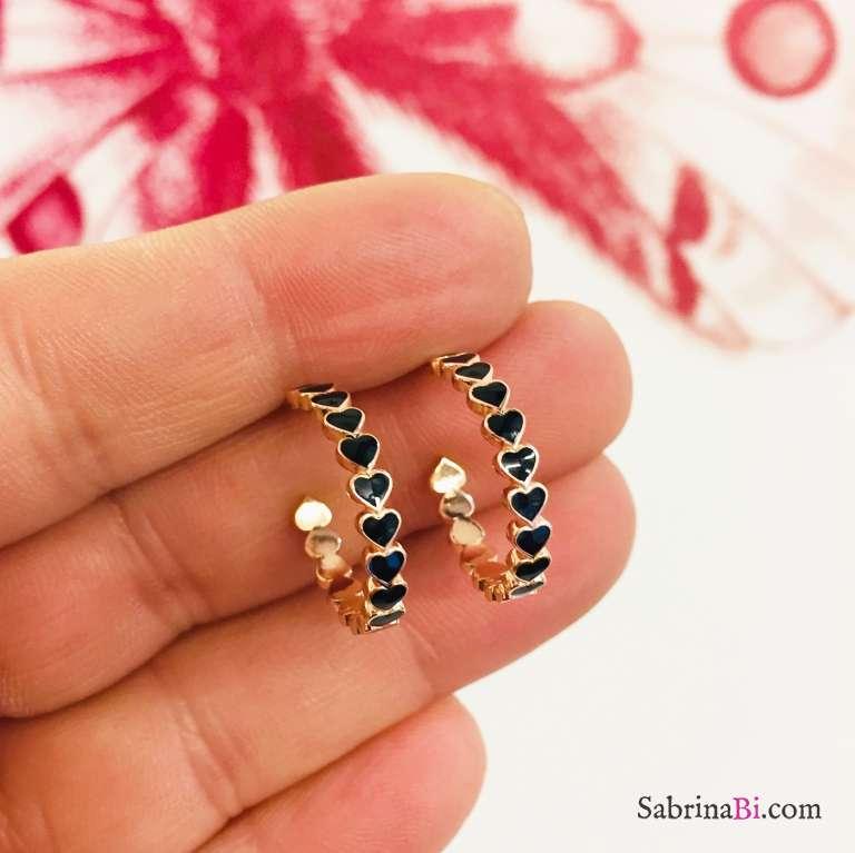 Orecchini a cerchio argento 925 oro rosa cuoricini smalto nero