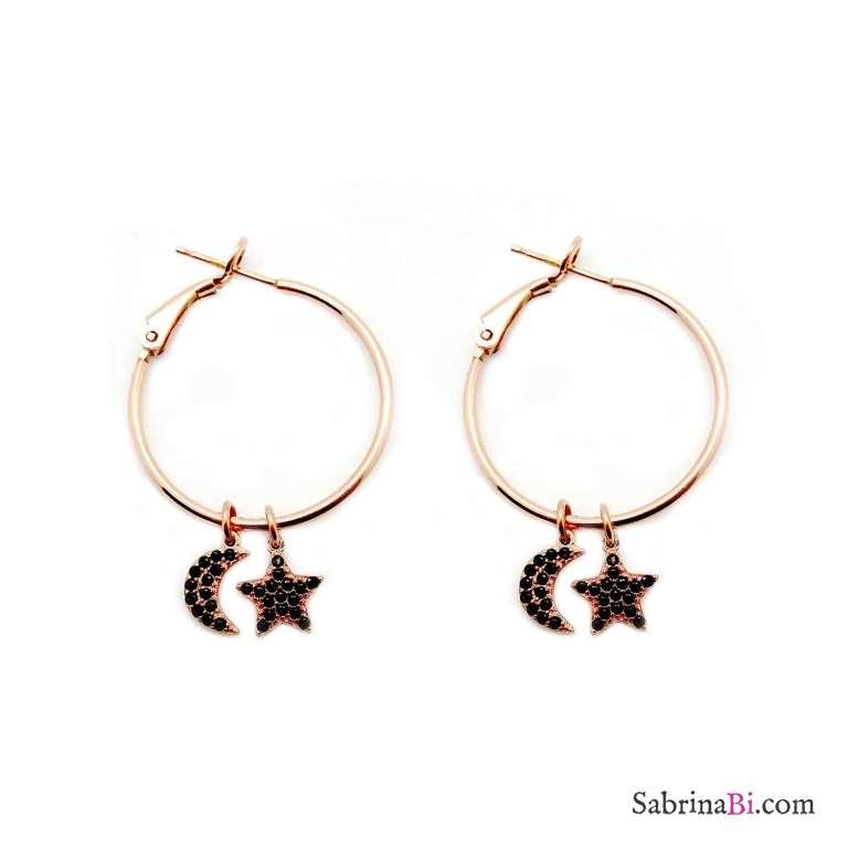 Orecchini a cerchio argento 925 oro rosa Luna + Stella Zirconi neri