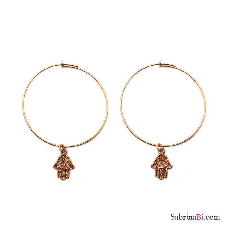 Orecchini a cerchio argento 925 oro rosa Mano di Fatima