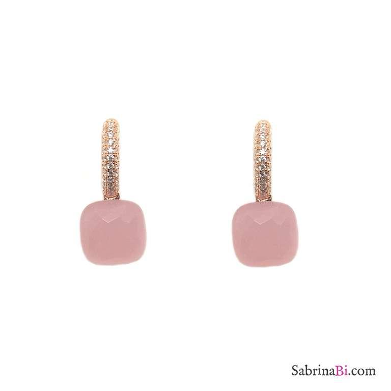 Orecchini a cerchio argento 925 oro rosa Opale rosa