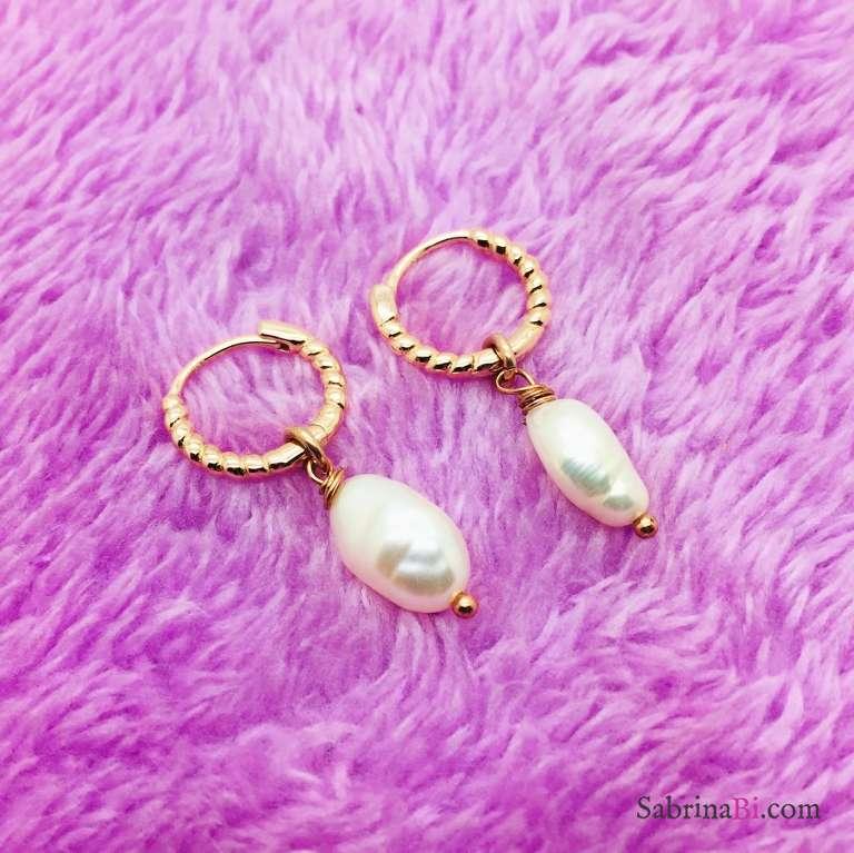 Orecchini a cerchio argento 925 oro rosa Perla Barocca