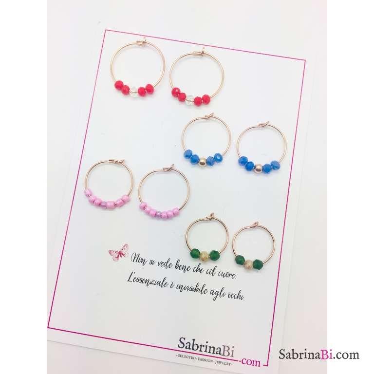 Orecchini a cerchio argento 925 oro rosa perle vetro rosa