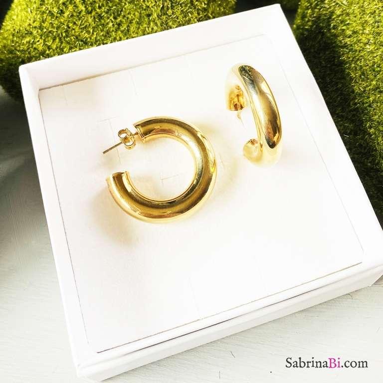 Orecchini a cerchio argento 925 placcato oro Swag
