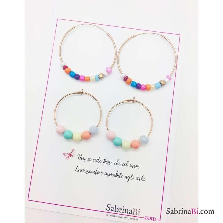 Orecchini a cerchio grande argento 925 oro rosa perle vetro multicolor