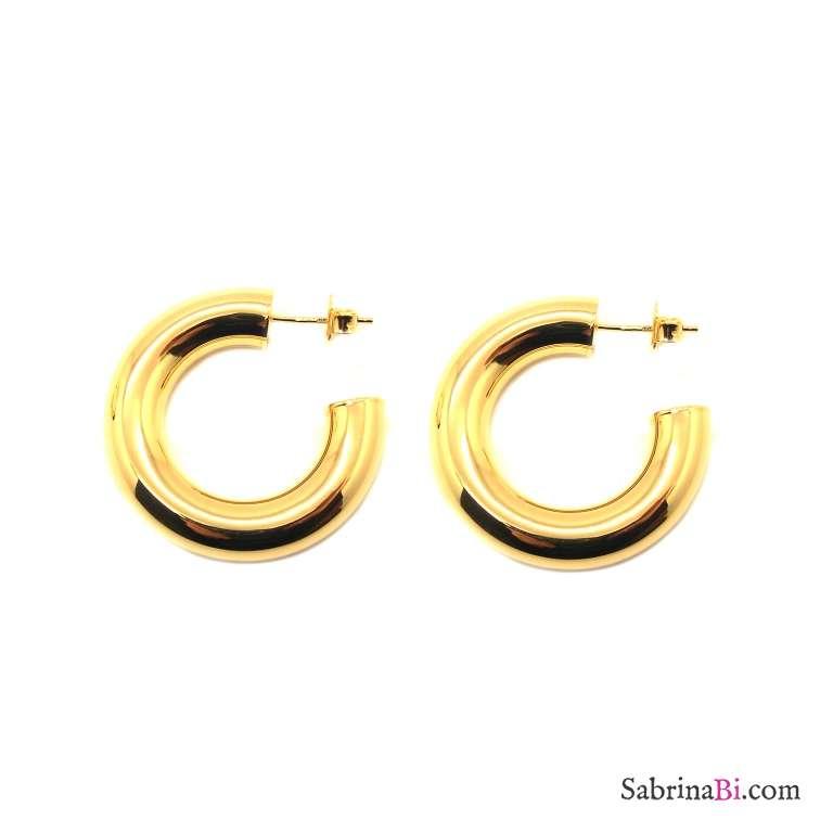 Orecchini a cerchio spesso argento 925 placcato oro