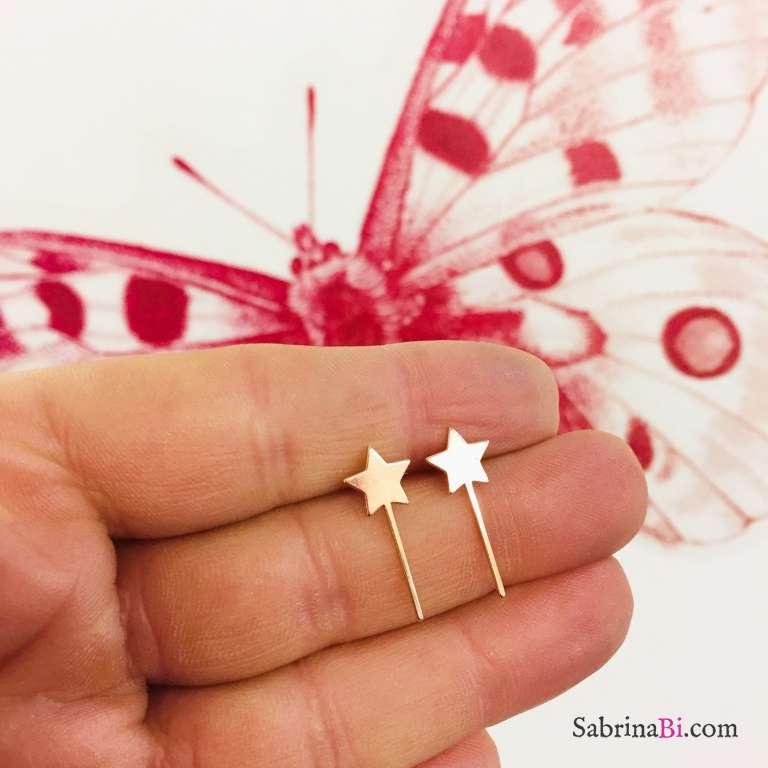 Orecchini a lobo argento 925 oro rosa bacchetta magica