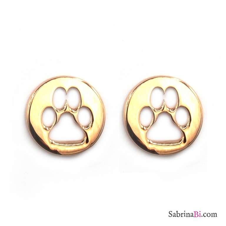 Orecchini a lobo argento 925 oro rosa impronta zampa