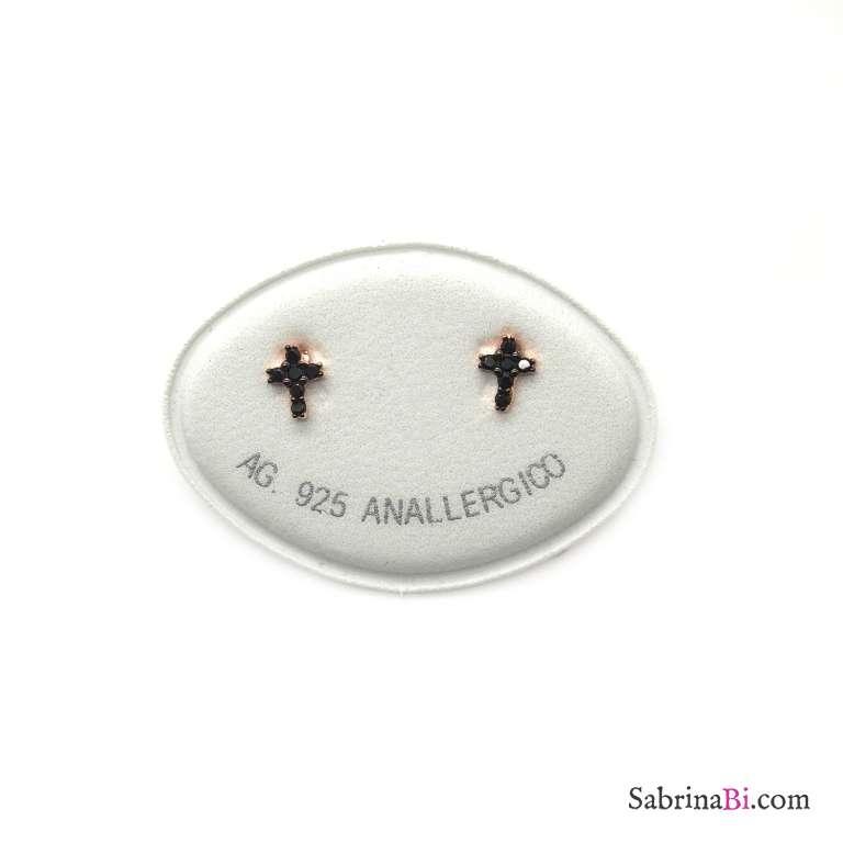 Orecchini a lobo argento 925 oro rosa Mini Croce Zirconi neri