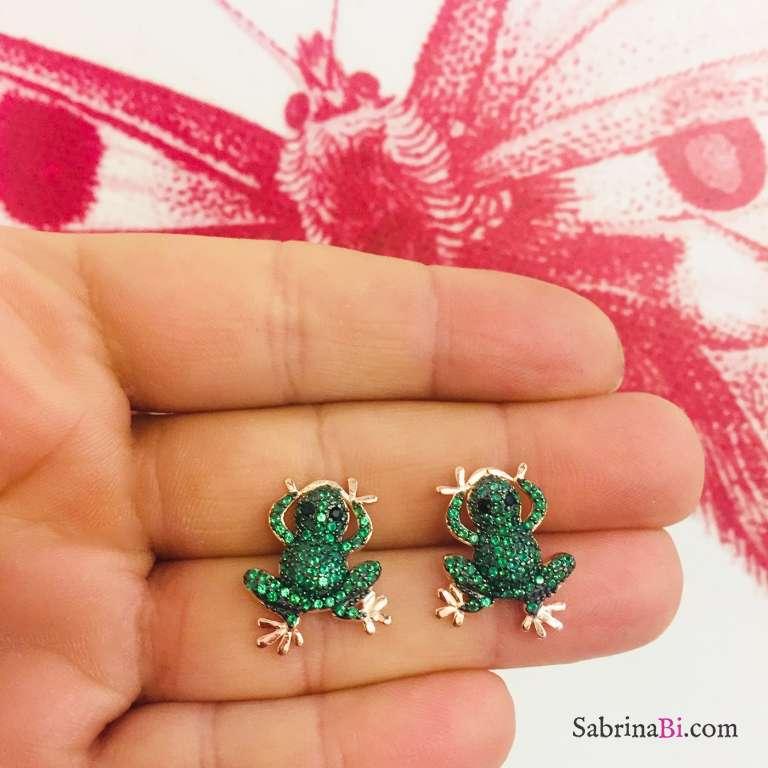 Orecchini a lobo argento 925 oro rosa Rana Zirconi verdi