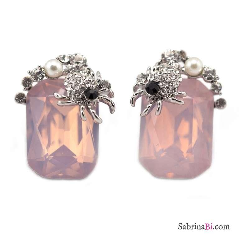Orecchini a lobo scorpione di strass e pietre di vetro rosa opale rettangolare