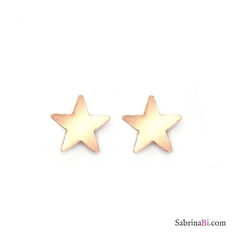 Orecchini a lobo stelle piccole oro rosa