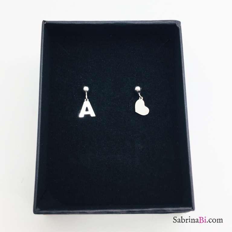 Orecchini argento 925 Lettera e cuore