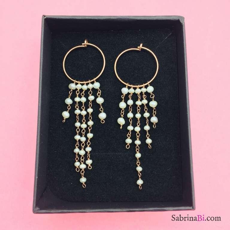 Orecchini argento 925 oro rosa cascata di Perle