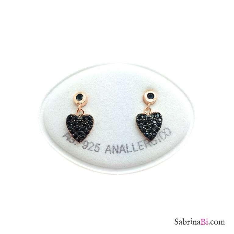 Orecchini argento 925 oro rosa cuore Zirconi neri pendente