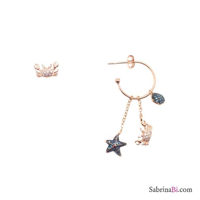Orecchini argento 925 oro rosa Granchio Stella marina Conchiglia