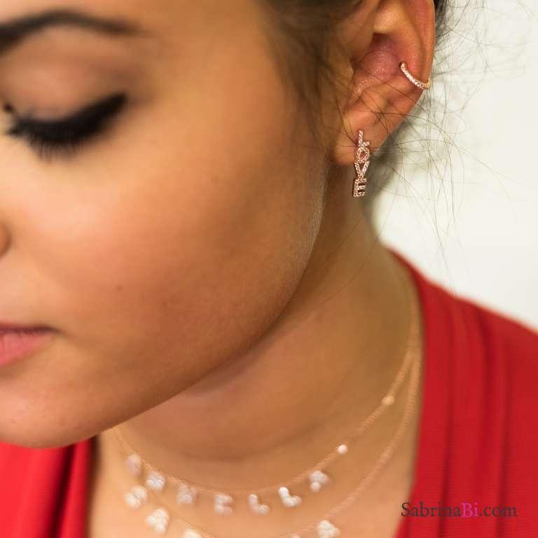 Orecchini argento 925 oro rosa Love