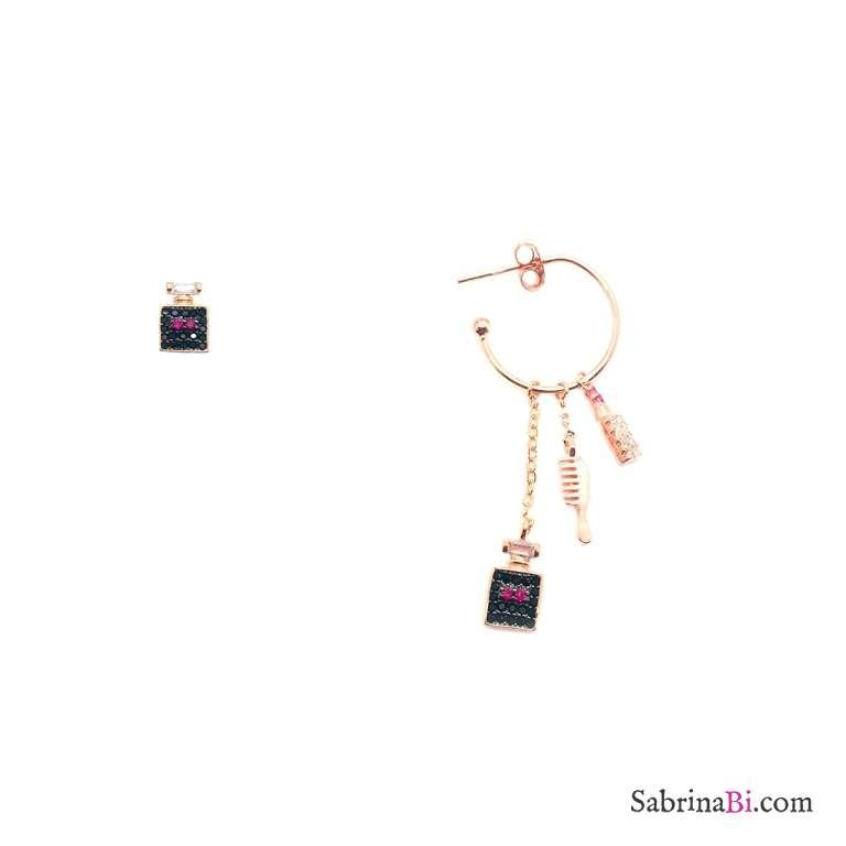 Orecchini argento 925 oro rosa Profumo Spazzola Pettine