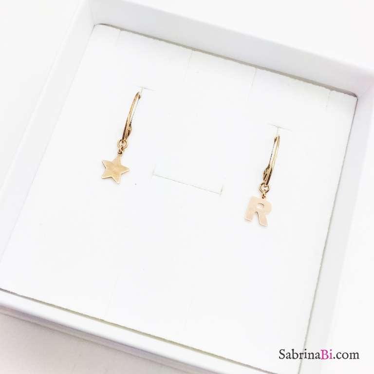 Orecchini argento 925 oro rosa Stella e lettera