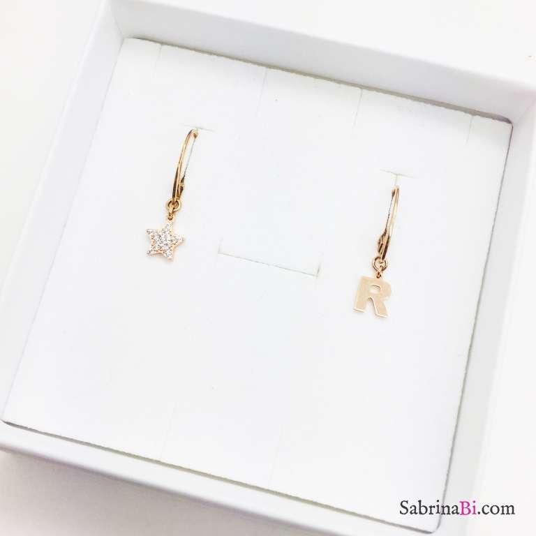 Orecchini argento 925 oro rosa Stella Zirconi e lettera