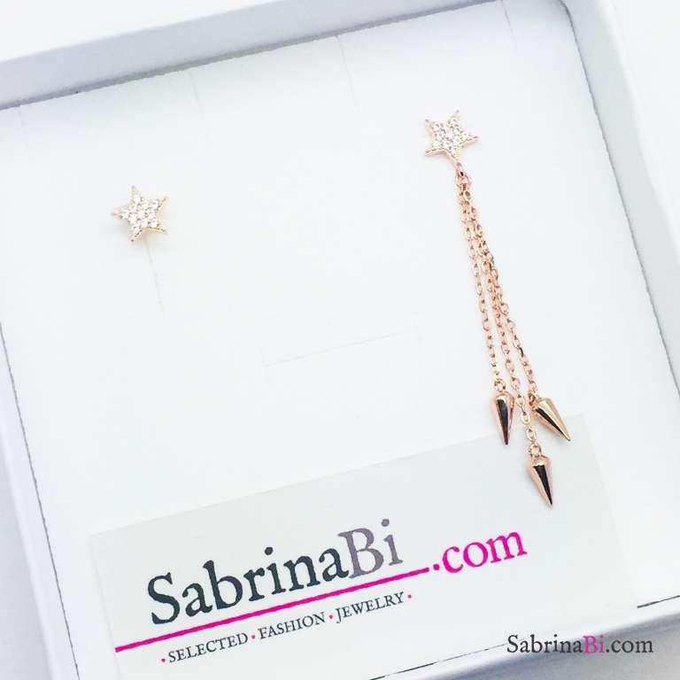 Orecchini asimmetrici argento 925 oro rosa Stelle Zirconi e borchie