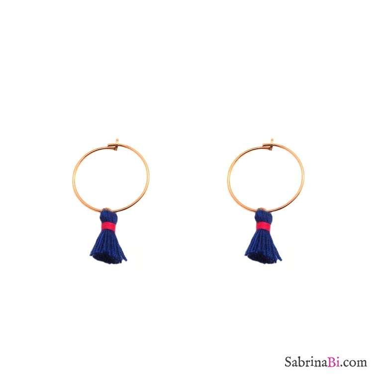 Orecchini cerchio 2cm argento 925 oro rosa nappine blu