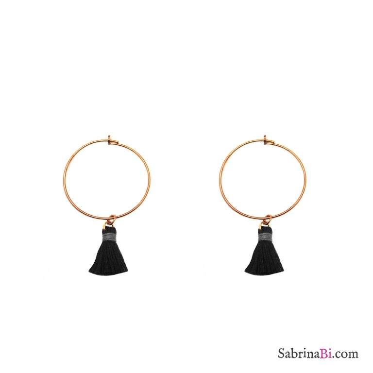 Orecchini cerchio 3cm argento 925 oro rosa nappine nere