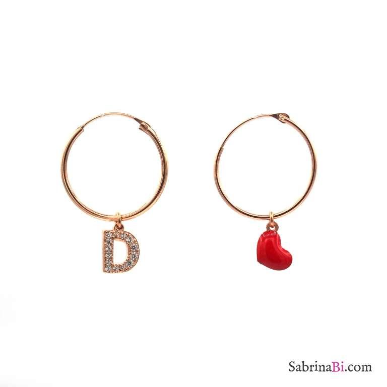 Orecchini cerchio argento 925 oro rosa cuore rosso e lettera iniziale nome zirconi