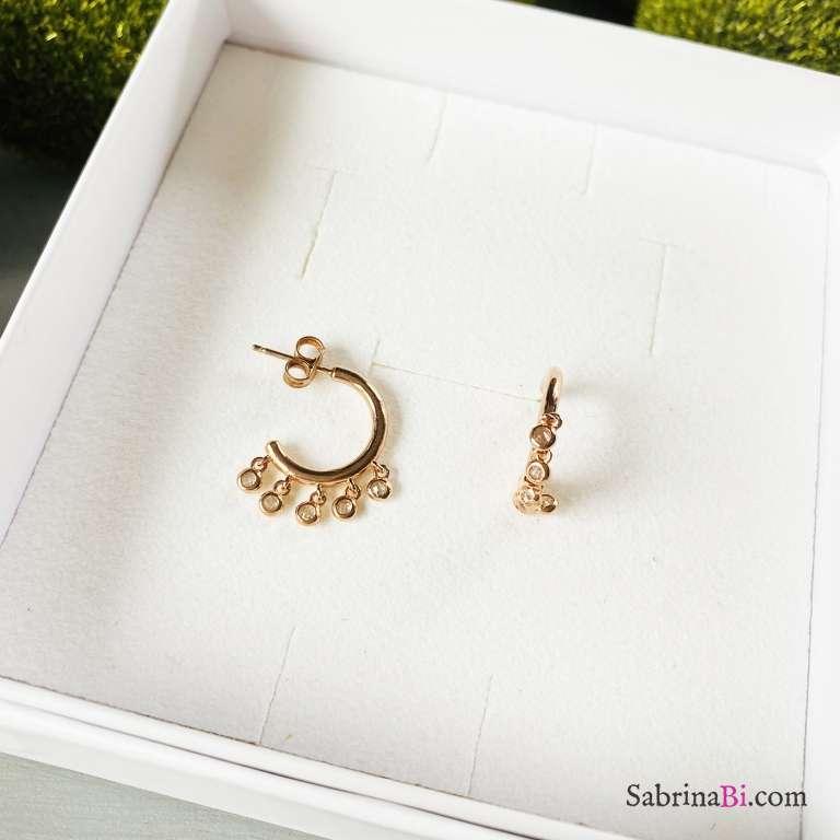 Orecchini cerchio argento 925 oro rosa Gipsy
