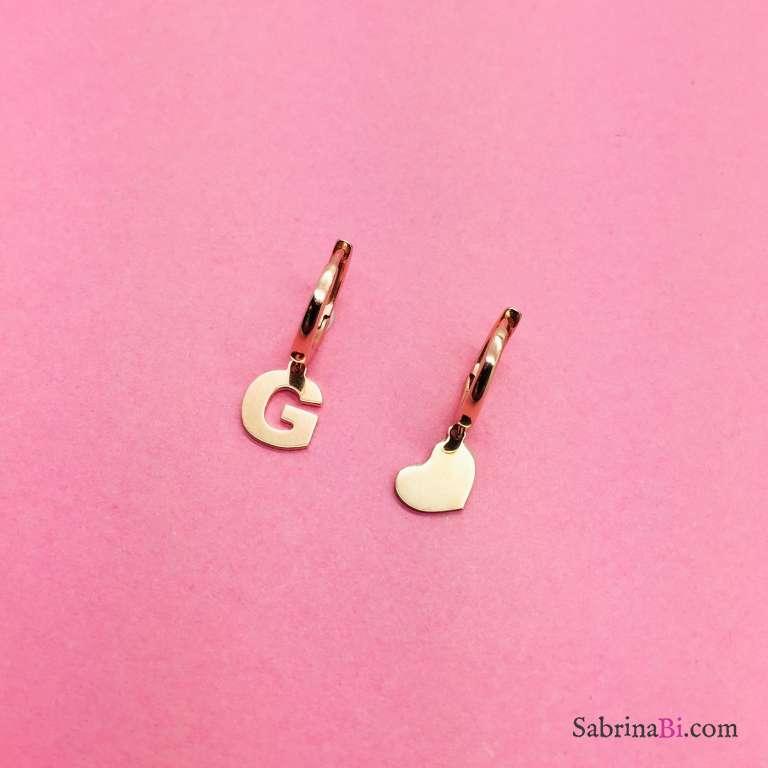Orecchini cerchio argento 925 oro rosa Lettera e cuore