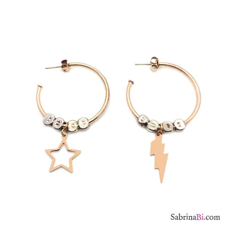 Orecchini cerchio argento 925 oro rosa Lightning Star