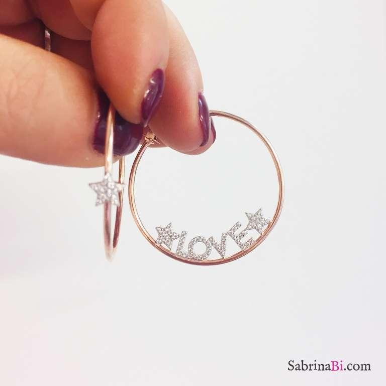 Orecchini cerchio argento 925 oro rosa Love and Star Zirconi
