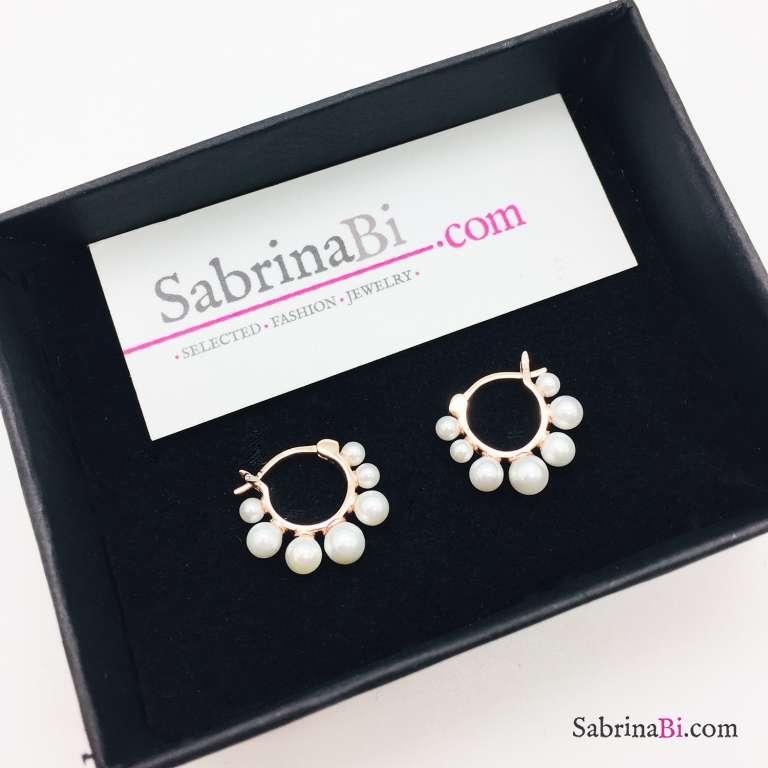Orecchini cerchio argento 925 oro rosa perle degradè