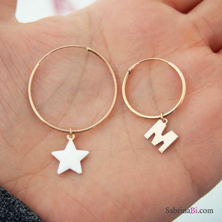Orecchini cerchio asimmetrici argento 925 oro rosa stella bianca e lettera iniziale nome