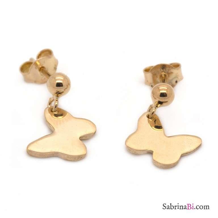 Orecchini corti farfalla argento 925 oro rosa