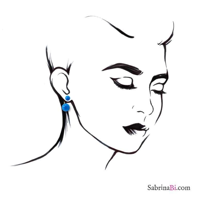 Orecchini doppia perla lucida blu a scalare
