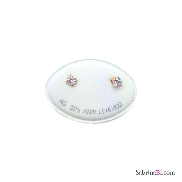Orecchini lobo argento 925 oro rosa punto luce Zircone misura 0,40