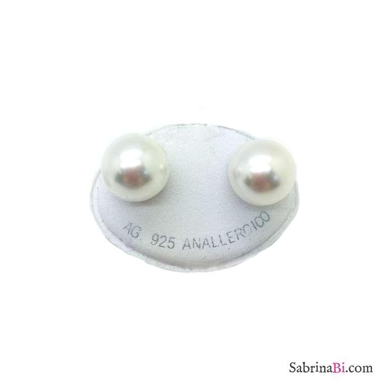 Orecchini lobo argento 925 perla bianca misura 1