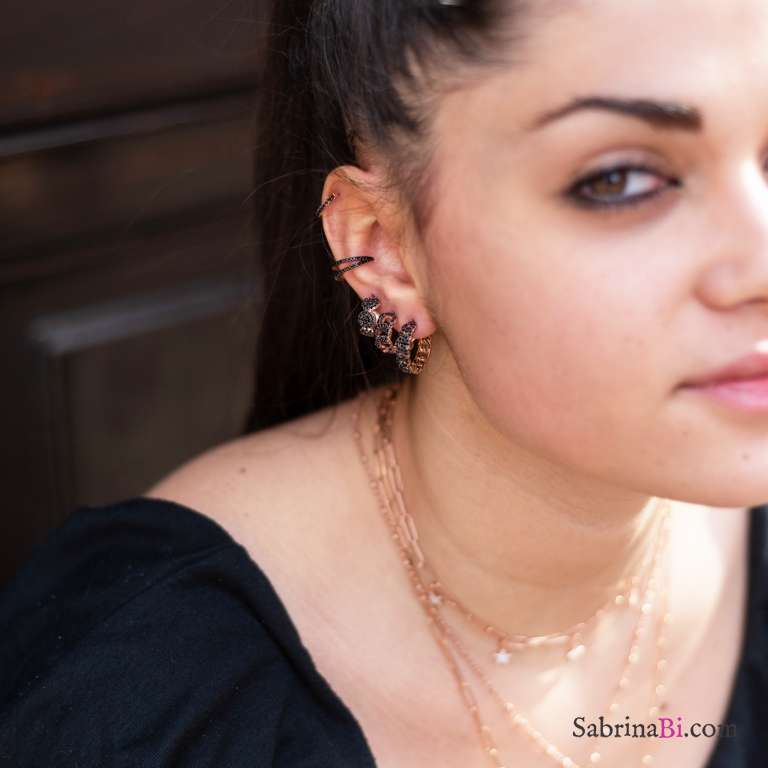 Orecchini mezzo cerchio argento 925 oro rosa groumette Zirconi neri