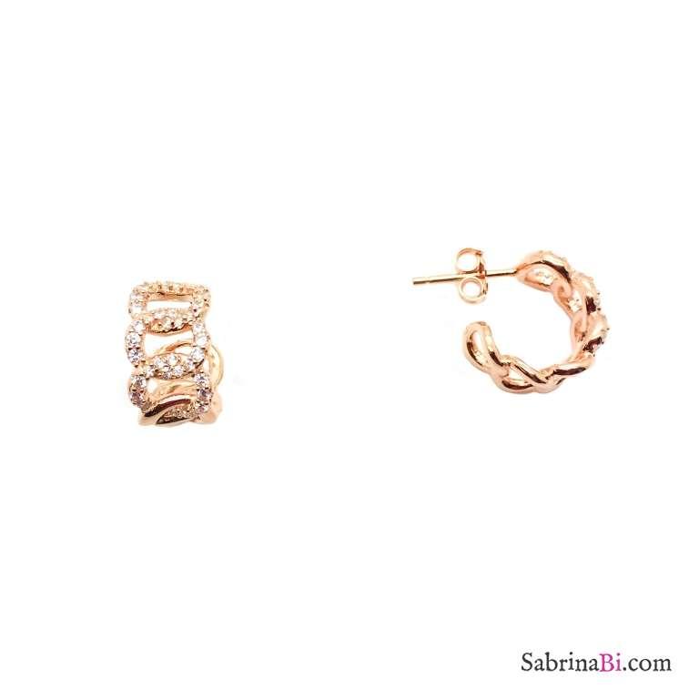 Orecchini mezzo cerchio argento 925 oro rosa groumette Zirconi