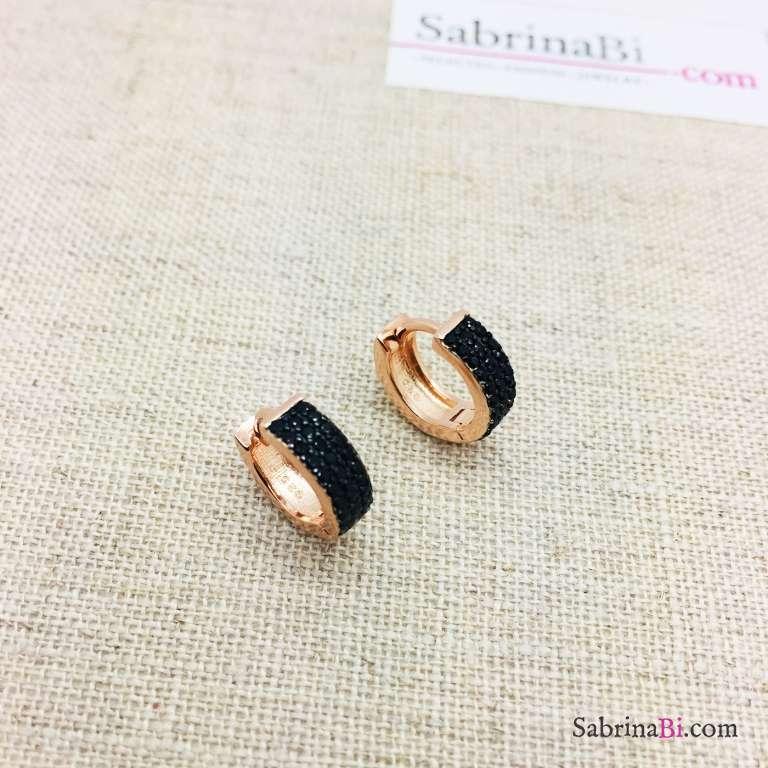 Orecchini mini cerchio argento 925 oro rosa tripla fila Zirconi neri