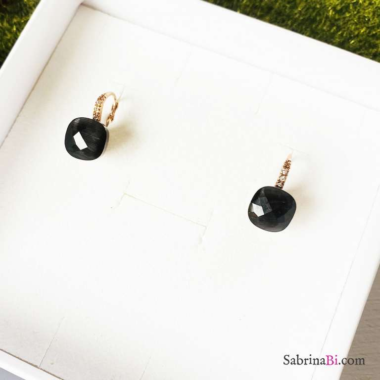 Orecchini Nudo argento 925 oro rosa Opale nero