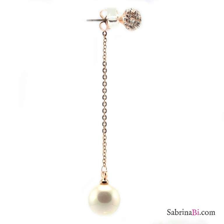 Orecchini oro rosa double face sfera strass e perla pendente