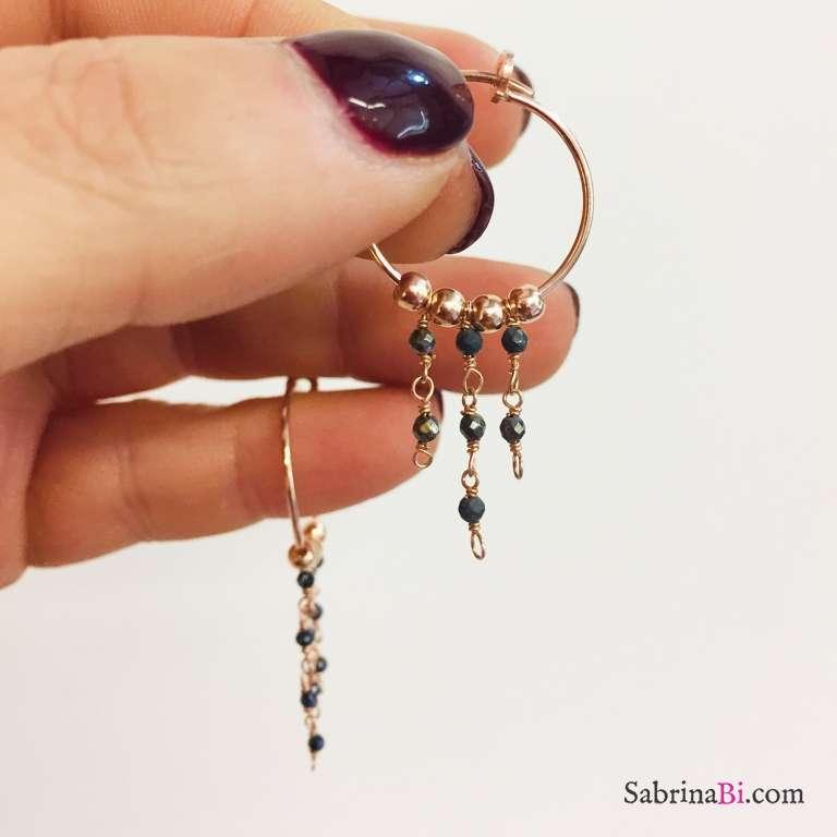 Orecchini pendenti a cerchio argento 925 oro rosa con catene rosario Piriti