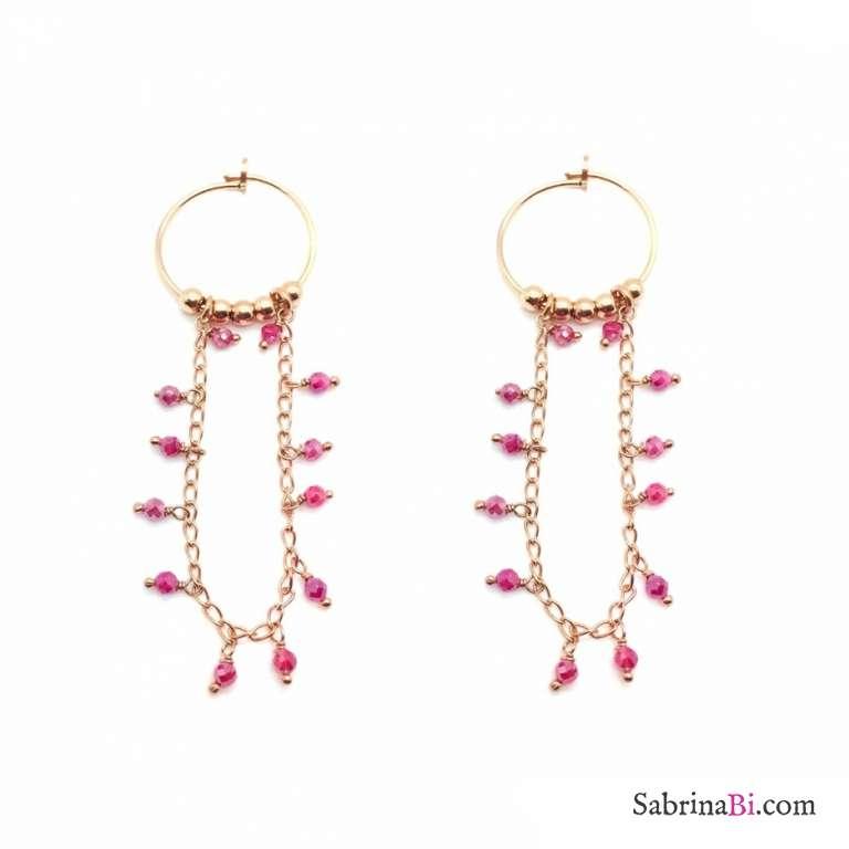 Orecchini pendenti a cerchio argento 925 oro rosa pepite con catena rosario rosa
